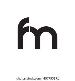 initial letter fm linked circle lowercase monogram logo black