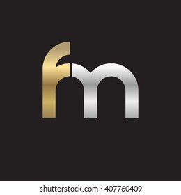 initial letter fm linked circle lowercase logo gold silver black background