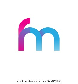 initial letter fm linked circle lowercase logo pink blue purple
