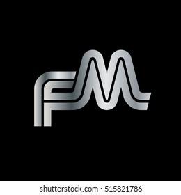 Initial Letter FM Linked Design Logo Silver