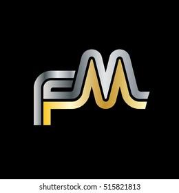 Initial Letter FM Linked Design Logo Silver Gold