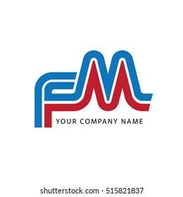 Initial Letter FM Linked Design Logo Blue Red