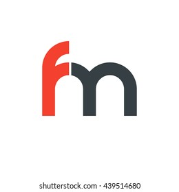 initial letter fm linked round lowercase logo red