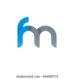 initial letter fm modern linked circle round lowercase logo blue gray