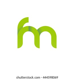 initial letter fm modern linked circle round lowercase logo green