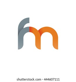 initial letter fm modern linked circle round lowercase logo orange gray