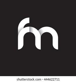 initial letter fm modern linked circle round lowercase logo white black