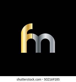 Initial Letter FM Rounded Lowercase Logo Gold Silver