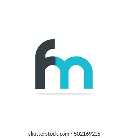 Initial Letter FM Rounded Lowercase Logo Black Blue
