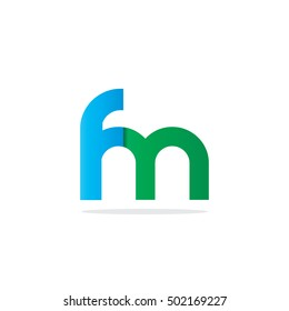 Initial Letter FM Rounded Lowercase Logo Blue Green