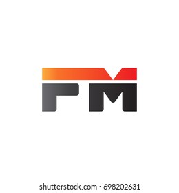 Initial letter FM, straight linked line bold logo, gradient fire red black colors