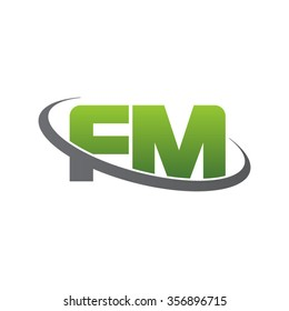 initial letter FM swoosh ring company logo green gray