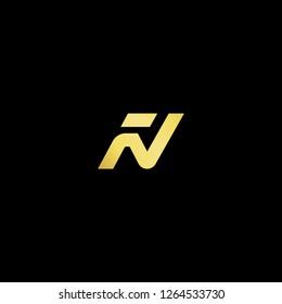 Initial letter FN NF minimalist art logo, gold color on black background.