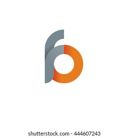 initial letter fo, letter fb, modern linked circle round lowercase logo orange gray