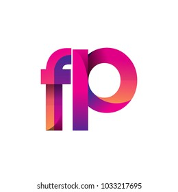 Initial Letter FP Logo Lowercase, magenta and orange, Modern and Simple Logo Design.