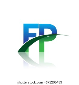 initial letter FP logotype company name colored blue and green swoosh design. vector logo for business and company identity.