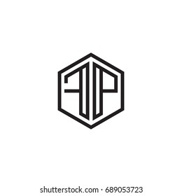 Initial letter FP, minimalist line art monogram hexagon logo, black color