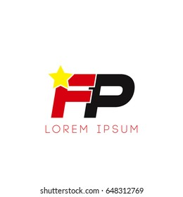 Initial letter fp yellow star logo red black