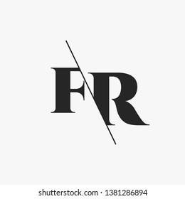 Initial Letter FR Monogram Sliced. Modern logo template isolated on gray background