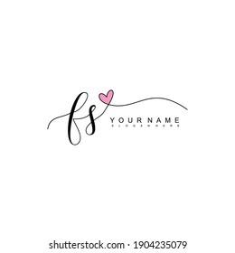 Initial letter FS calligraphy handwritten logo. Handwritten alphabet in the logo template. Letters and Alphabet for your logo design.