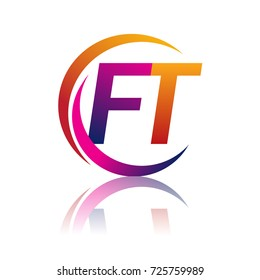 initial letter FT logotype company name orange and magenta color on circle and swoosh design. vector logo for business and company identity.