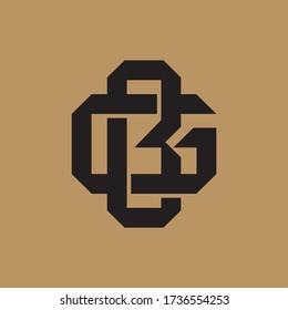 Initial letter G, B, GB or BG overlapping, interlock, monogram logo, black color on cream background