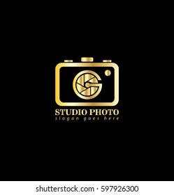 Initial Letter G Camera Shutter Logo Gold