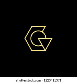Initial letter G GG GC CG GO OG minimalist art logo, gold color on black background.