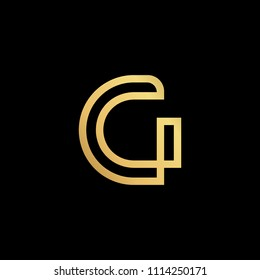 Initial letter G GG minimalist art logo, gold color on black background