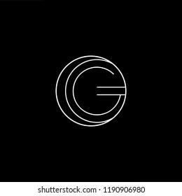 Initial letter G GG OG GO minimalist art monogram shape logo, white color on black background.