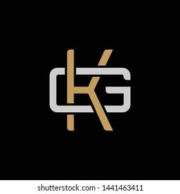 Initial letter G and K, GK, KG, overlapping interlock logo, monogram line art style, silver gold on black background