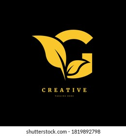 initial letter G with leaf logo vector concept element, letter G logo with Organic leaf