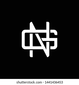 Initial letter G and N, GN, NG, overlapping interlock monogram logo, white color on black background