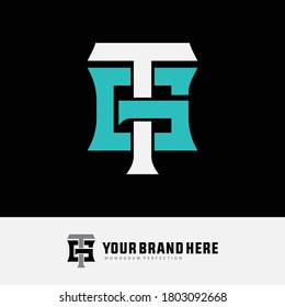 Initial letter G, T, GT or TG overlapping, interlock, monogram logo, white and blue color on black background