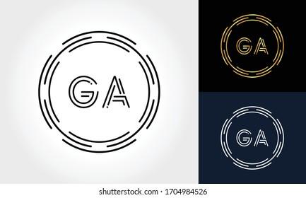 Initial Letter GA Creative Logo Design vector Template. Digital Luxury Letter GA logo Design