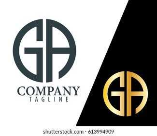 Initial Letter GA With Linked Circle Logo