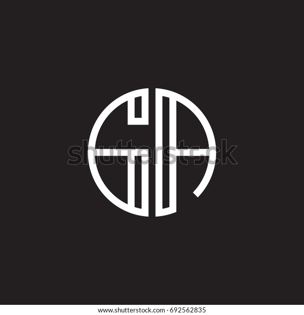 Initial letter GA, minimalist line art monogram circle shape logo, white color on black background