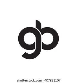 initial letter gb linked circle lowercase monogram logo black