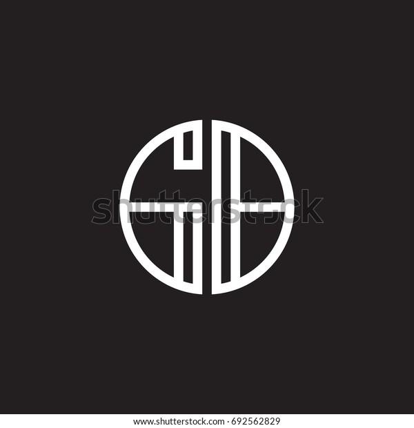 Initial letter GB, minimalist line art monogram circle shape logo, white color on black background