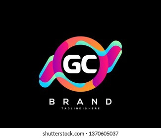 Initial letter GC logo with colorful circle background, letter combination logo design for creative industry, web, business and company. - Vector