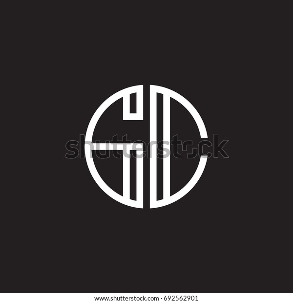Initial letter GC, minimalist line art monogram circle shape logo, white color on black background