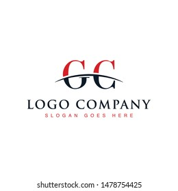 Initial letter GC, overlapping movement swoosh horizon logo company design inspiration in red and dark blue color vector