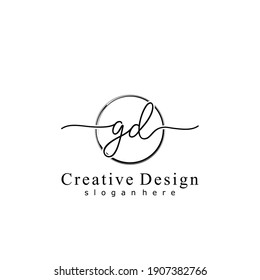 Initial letter GD calligraphy handwritten logo. Handwritten alphabet in the logo template. Letters and Alphabet for your logo design.