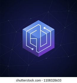 Initial letter GD, GO, block chain, looping mono line circuit letter on hexagon cube logo, blue magenta gradient color on black blue network background