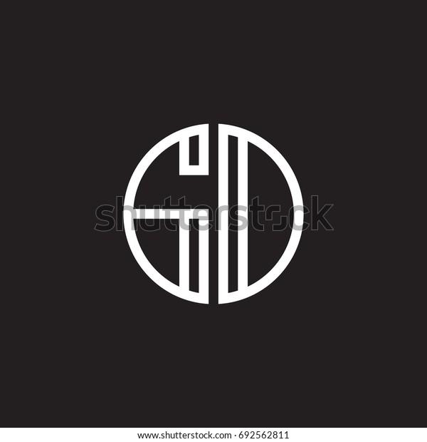 Initial letter GD, GO, minimalist line art monogram circle shape logo, white color on black background