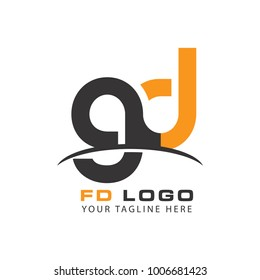 Initial Letter GD Linked Circle Lowercase Logo Black Blue Icon Design Template Element