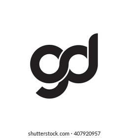 initial letter gd linked circle lowercase monogram logo black