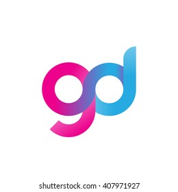 initial letter gd linked circle lowercase logo pink blue purple