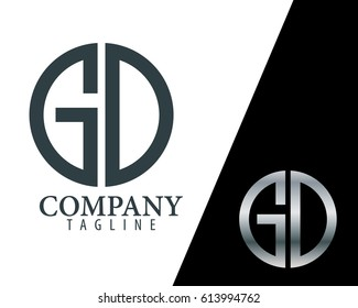 Initial Letter GD With Linked Circle Logo