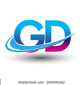 initial letter GD logotype company name colored blue and magenta swoosh design. vector logo for business and company identity.